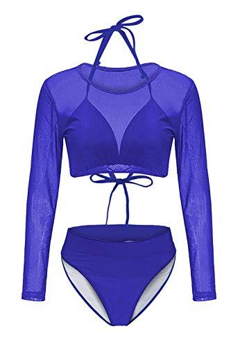 Kisscynest Women Long Sleeve Halter Neck High Waisted 3 Pieces Mesh Bikini Sets Swimwear Royal Blue L