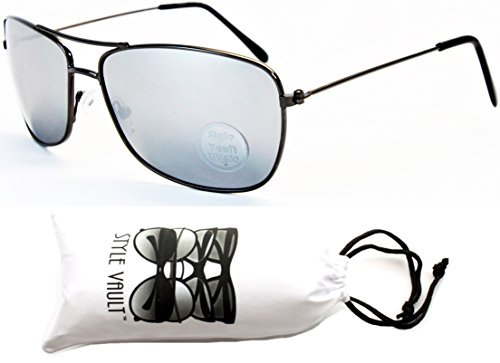 A3033-vp Style Vault Rectangular Square Aviator Sunglasses (O1275B Gunmetal-Mirrored)