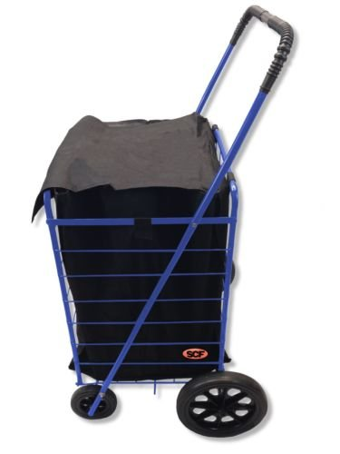Extra Large Folding Shopping Cart Basket 4 Wheel Jumbo WITH FREE LINER AND CARGO NET by SCF (Blue with Black liner) by Unique Imports