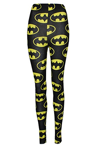 Superhero Tights (Thever Women Ladies Girls Batman Superhero Legging Trouser Tights Size 8-14 (UK (12-14) US (10-12), Black))