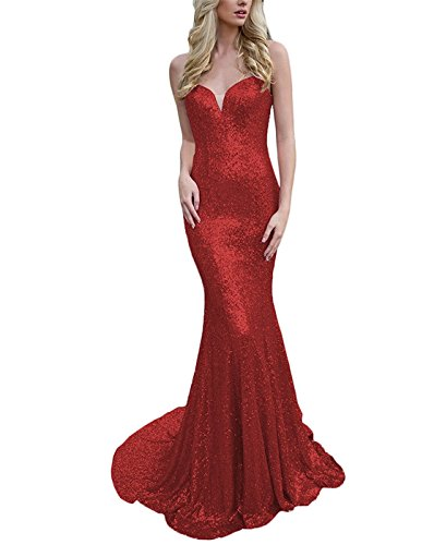 Les Paillettes De Bretelles Spaghetti De Drehouse Femmes Sirène Robes De Bal Robes De Fête De Mariage 2018 Rouge