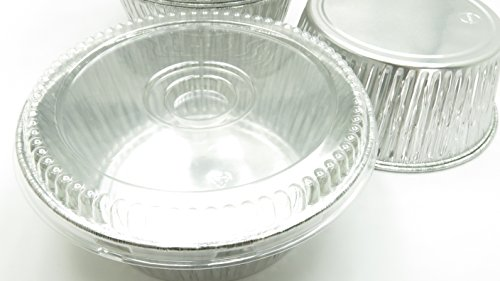 Disposable Aluminum Extra Deep 10 inch Round All Purpose Baking Pan With Clear Dome Lid#1600P (25)