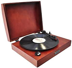 Pyle Home PVNTT1R Classic Retro USB Phonograph/Turntable With Aux-Input Jack (Mahogany) (Discontinued by Manufacturer)