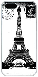 Black And White Vintage Retro Postcard Eiffel Tower Theme Iphone 5c for kids Case