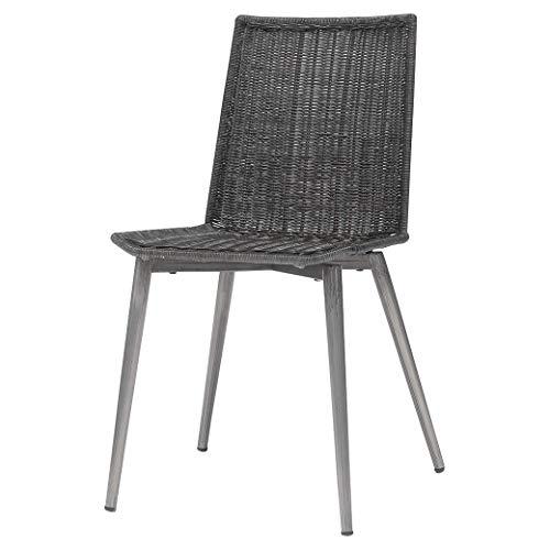 Kathy Kuo Home Palecek Nico Modern Classic Metal Frame Wicker Back Dining Side Chair (Wicker Palecek Chairs Dining)