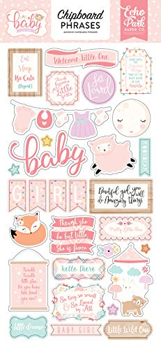 Echo Park Paper Company Hello Baby Girl 6x13 Phrases chipboard, Pink, Teal, Yellow, Purple, Orange