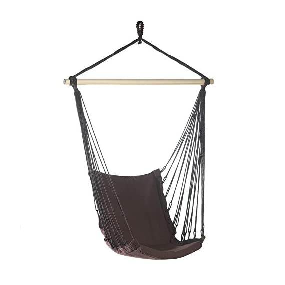 Hanging Chair, Portable Hammock Chair Rope Outdoor Cotton Padded Swing Chair -  - patio-furniture, patio, hammocks - 41z2om0USkL. SS570  -