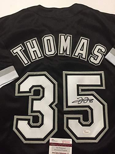 Autographed/Signed Frank Thomas Chicago Black Baseball Jersey JSA COA