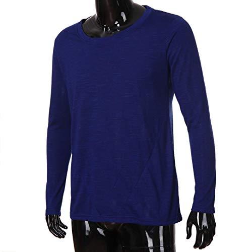 Collo Sottile Uomini Bhydry Modo Di Manica O Solida Cime Inverno Camicie Blu Della Camicetta Autunno Rappezzatura Cotone Lunga Marino Casuale Di wYPqSxP4