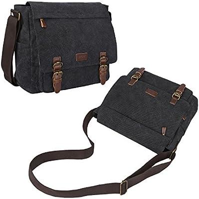 f11b01e0f5 S-ZONE Vintage Canvas Messenger Bag School Shoulder Bag for 13.3-15inch  Laptop Business
