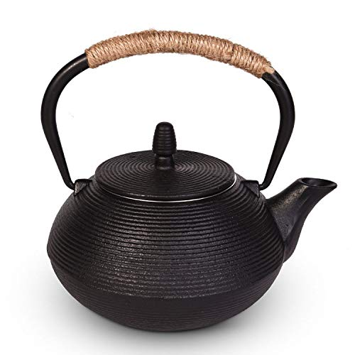 Sotya Japanese Tetsubin Cast Iron Teapot Tea Kettle for stove top with infuser and Insulation Handle (Black/1000ml) ()