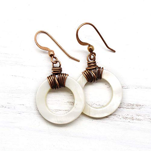 Copper Earrings with White Mother of Pearl Shell Hoops ()