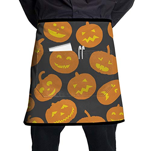 JDHHOME Halloween Pumpkin Design Unisex Personality Waterproof Durable Pocket Half Kitchen Apron Protection -
