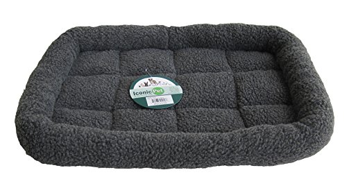 Iconic Pet Premium Synthetic Sheepskin Handy Bed, Large, Gray