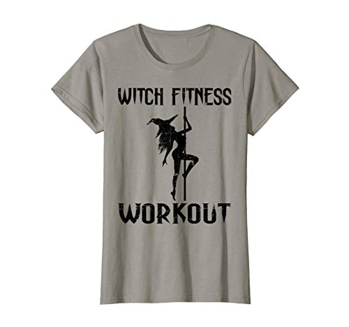 Womens Witch Fitness Workout Funny Halloween T-Shirt