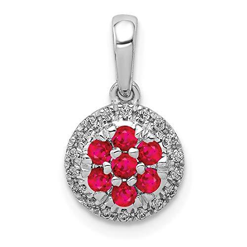 (Lex & Lu 14k White Gold Diamond & Ruby Circle Pendant)