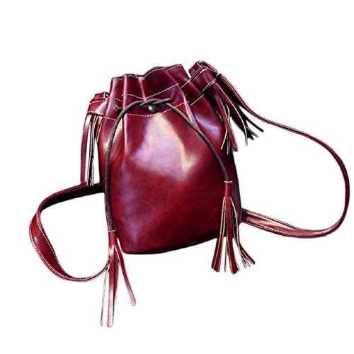 Hobo Bag Shoulder Tassel Messenger Bag Purse Red Malloom® New Handbag Women Satchel SwnOxq08