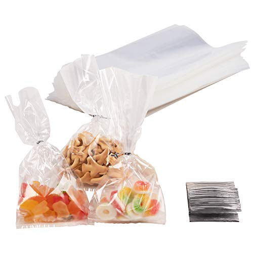 Gusset Cellophane Bags - 200-Pack Clear Bags Suitable for Popcorn, Cookies, Treats, Marshmallows, and More, 4 x 9 Inches ()