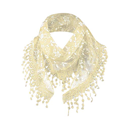 Fashion Lace Tassel Sheer Burntout Floral Print Triangle Mantilla Scarf Shawl