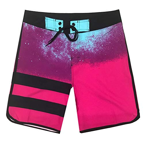 XQXCL Men's Casual Fashion Colorful Stitching Sports Loose Surf Beach Pants Red ()