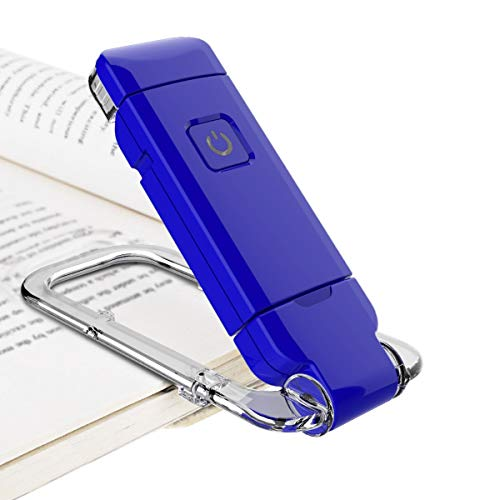 BIGLIGHT Book Reading Light, LED Clip on Book Lights, Reading Lights for Books in Bed at Night, Small Book Light for Kids, USB Rechargeable, 2 Brightness Adjustable for Eye Protection, Blue