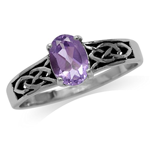 Natural Amethyst 925 Sterling Silver Celtic Knot Ring Size 7