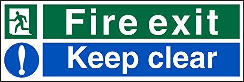 Stewart Superior Sign Fire Exit Keep Clear 300x100mm PVC Ref SP126PVC