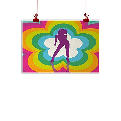 (duommhome 70s Party Print Art Oil Painting Vibrant Colorful Flowers with Dancing Woman Psychedelic and Kaleidoscopic Design Home and Everything W47 xL31)