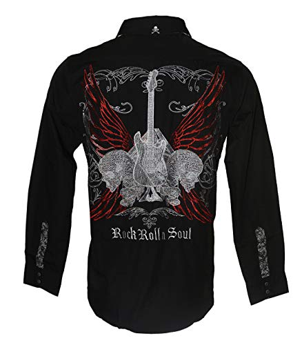 Men's Long Sleeve Embroidered 'Love Hate' Button Down Shirt Black 707B (XL) -