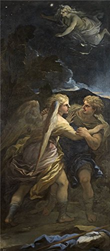 High Quality Polyster Canvas ,the Reproductions Art Decorative Canvas Prints Of Oil Painting 'Giordano Luca Lucha De Jacob Con El Angel Ca. 1694 ', 16 X 36 Inch / 41 X 93 Cm Is Best For Home Office Decor And Home Gallery Art And Gifts
