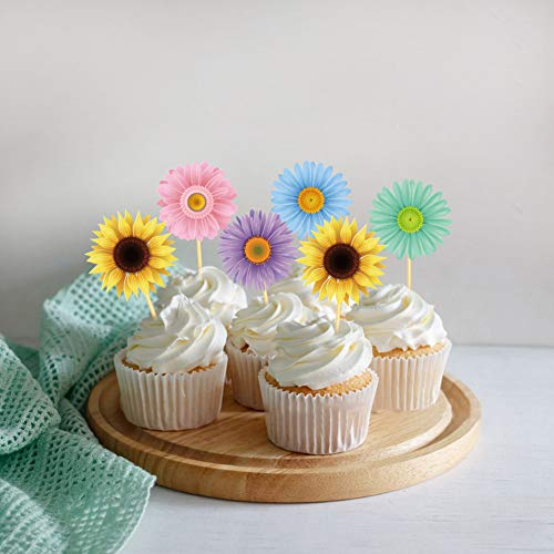 25Pcs Summer Spring Sunflower Cupcake Toppers,Birthday Party Supplies, Cake Decorations,Dessert Food Picks,Birthday Party Toppers Picks Decorations for Girls,Boys,Kids Home,Classroom,Baby Showers