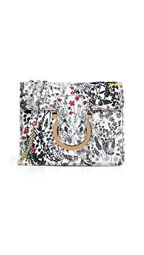 (Salvatore Ferragamo Women's Thalia Small Shoulder Bag, Bianco Pronto Stampa, Off White, Floral, One Size)