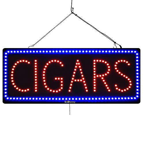- Large LED Window Open Sign - Cigars - Extra Bright, Can be seen Through Tinted Windows - 13