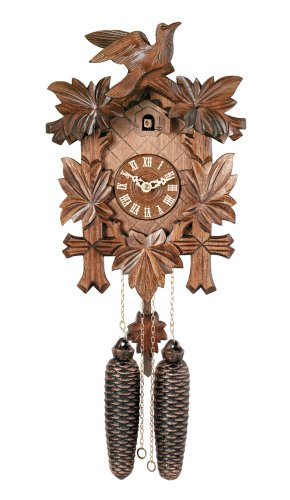 River City Clocks Traditional German Cuckoo Clock with Five Hand-Carved Maple Leaves And One Bird, 14-Inch Tall
