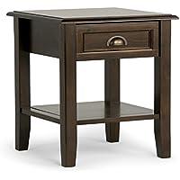 Simpli Home Burlington Solid Wood End Side Table, Espresso Brown