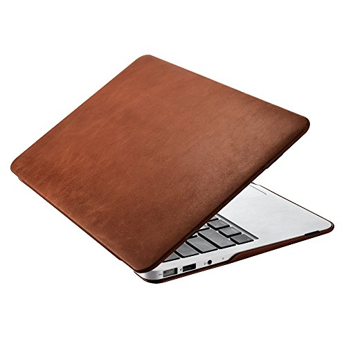 Cowhide Leather Skin Case (Macbook Air 11 Case,Icarercase Premium Genuine Leather Cover,Protective Devided Book Case Design for Macbook Air 11.6 Inch (Brown))