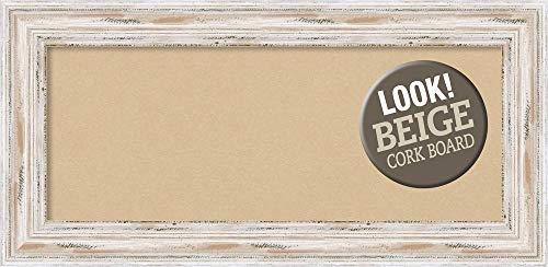 Amanti Art Beige Panel, Outer Size 35 x 17 Tan Cork Alexandria White Wash Framed Bulletin Boards, Panel-35 x 17