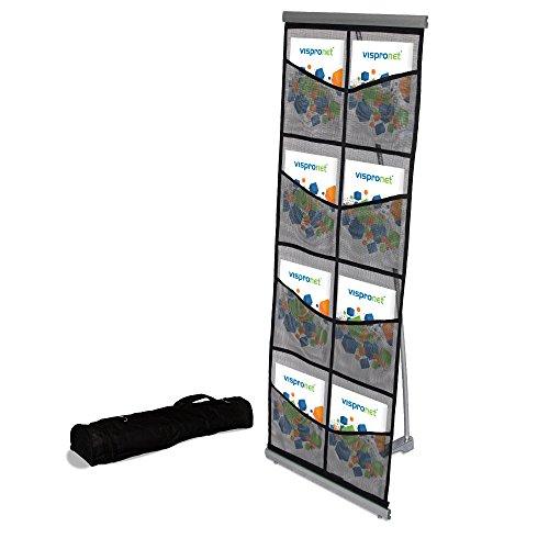Mesh Floor Catalog Rack - Roll Out Brochure Holder 8 Pockets - Portable Literature Display Display Roll