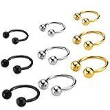 Joybeauti Unisex Stainless Steel Horseshoe Hoop Ear Cartilage Helix Septum Circular Barbells Earrings 16 Gauge