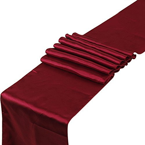 RayLineDo Pack of 10 12'' X 108'' Satin Table Runners for Wedding Party Banquet Table Party Bridal Decoration in Wine (Wine Table Red)