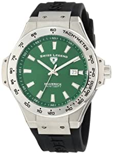 Swiss Legend Men's 40052-08 Maverick Dark Green Dial Black Silicone Watch