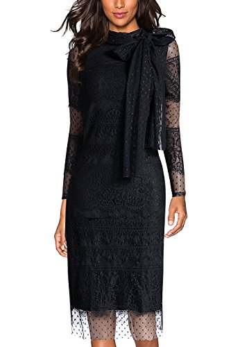EvelynNY Women's Polka Dot Lace Career Cocktail Party Prom Shift Midi Dress