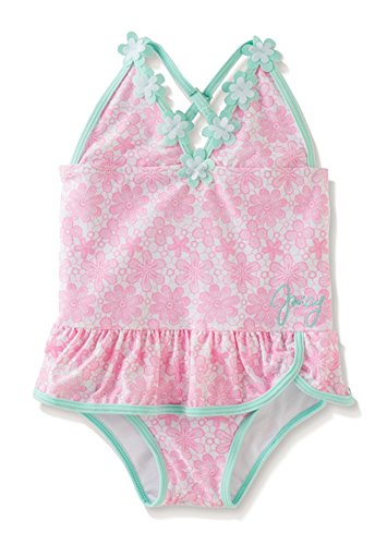 Juicy Couture Baby Girls Pink Floral Print 1pc Swimsuit (6/9M)