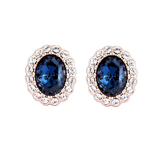 Price comparison product image Clip Earrings,  Sapphire Circular Halo Navy Crystal No Pierced Clip on Earrings for Girl Women and Great Gifts for Mothers Day