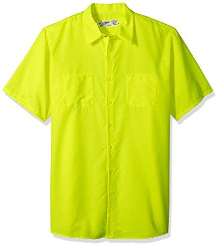 Red Kap Men's Big Enhanced Visibility Short Sleeve Ripstop Work Shirt, Fluorescent Yellow/Green, (Fluorescent Yellow Green)