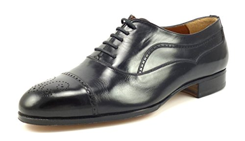 Bally Men's Shoes Fino Leather Cap Toe Oxfords Size 8.5 EEE US Black