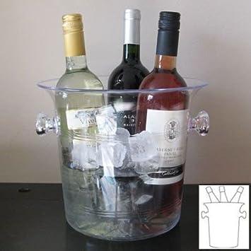 Compra Tamaño grande de plástico transparente acrílico vino/enfriador para botellas de/cubitera (Para 2/3 botellas) en Amazon.es