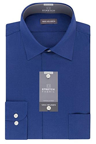 Van Heusen Men's Dress Shirts Regular Fit Lux Sateen Stretch Solid, Blue Velvet, 18.5