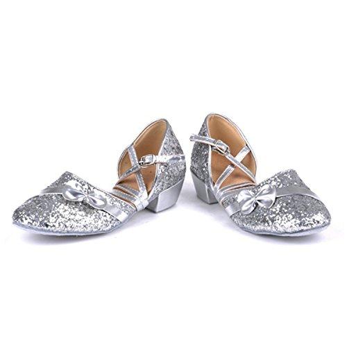 Cuero Zapatos de Latino de de Zapatos Baile Sandalias BYLE Adultos Modern de Onecolor de Baile de Tobillo Latino Zapatos Jazz Plata Zapatos Baile Samba Verano Tira de qE50PA