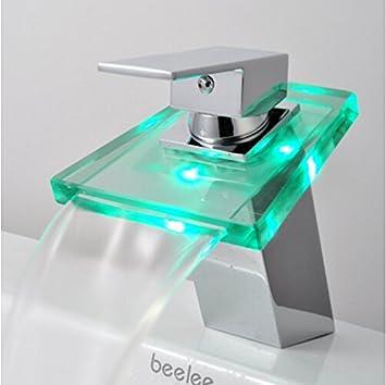 Auralum robinet de lavabo mitigeur led de design cristal for Lavabo en verre salle de bain